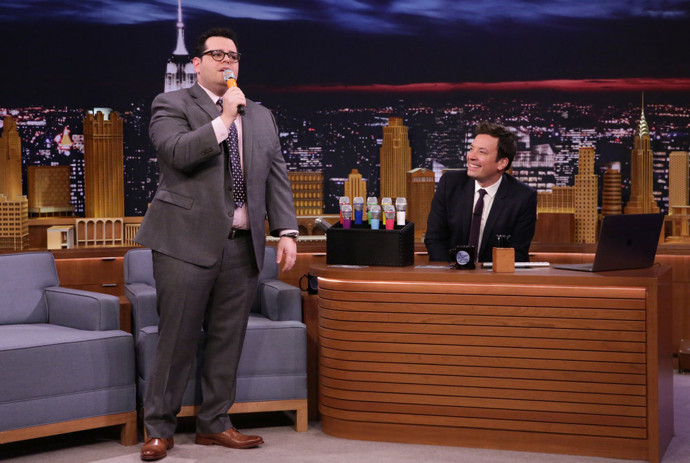THE TONIGHT SHOW STARRING JIMMY FALLON -- Episode 639 -- Pictured: (l-r) Actor Josh Gad and host Jimmy Fallon during the 'Box of Microphones' sketch on March 14, 2017 -- (Photo by: Andrew Lipovsky/NBC)