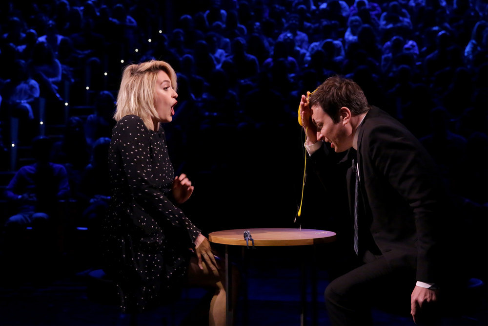 "THE TONIGHT SHOW STARRING JIMMY FALLON -- Episode 0642 -- Pictured: (l-r) Actress Paris Jackson and host Jimmy Fallon play ""Egg Russian Roulette"" on March 20, 2017 -- (Photo by: Andrew Lipovsky/NBC)"