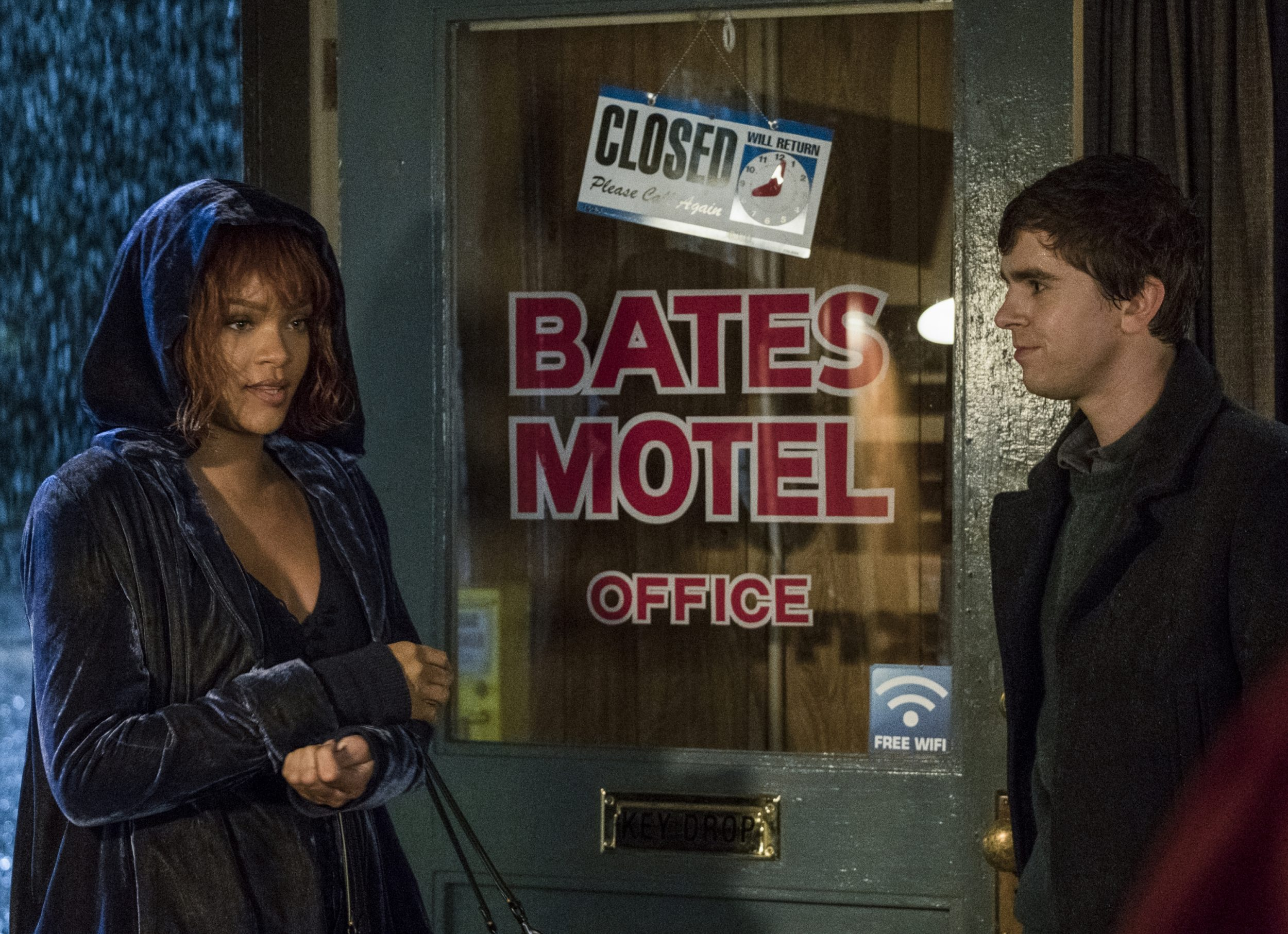 """MARION Rihanna stars as Marion Crane and Freddie Highmore stars as Norman Bates in A&E's """"Bates Motel"""" Photo by Cate Cameron Copyright 2017"""
