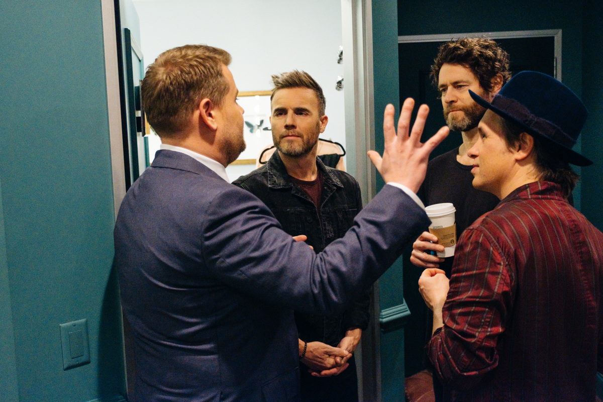"""James Corden chats with musical guest Take That during """"The Late Late Show with James Corden,"""" Tuesday, January 24, 2017 (12:35 PM-1:37 AM ET/PT) On The CBS Television Network. Photo: Terence Patrick/CBS ©2017 CBS Broadcasting, Inc. All Rights Reserved"""