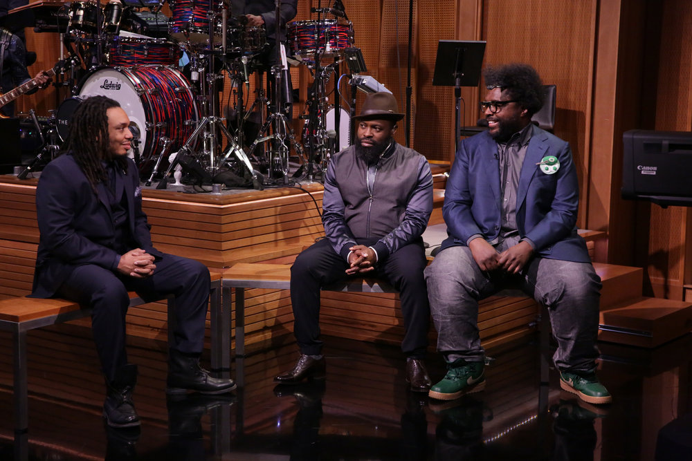 THE TONIGHT SHOW STARRING JIMMY FALLON -- Episode 639 -- Pictured: (l-r) Mark Kelley, Black Thought and Questlove of 'The Tonight Show' band during a sketch on March 14, 2017 -- (Photo by: Andrew Lipovsky/NBC)