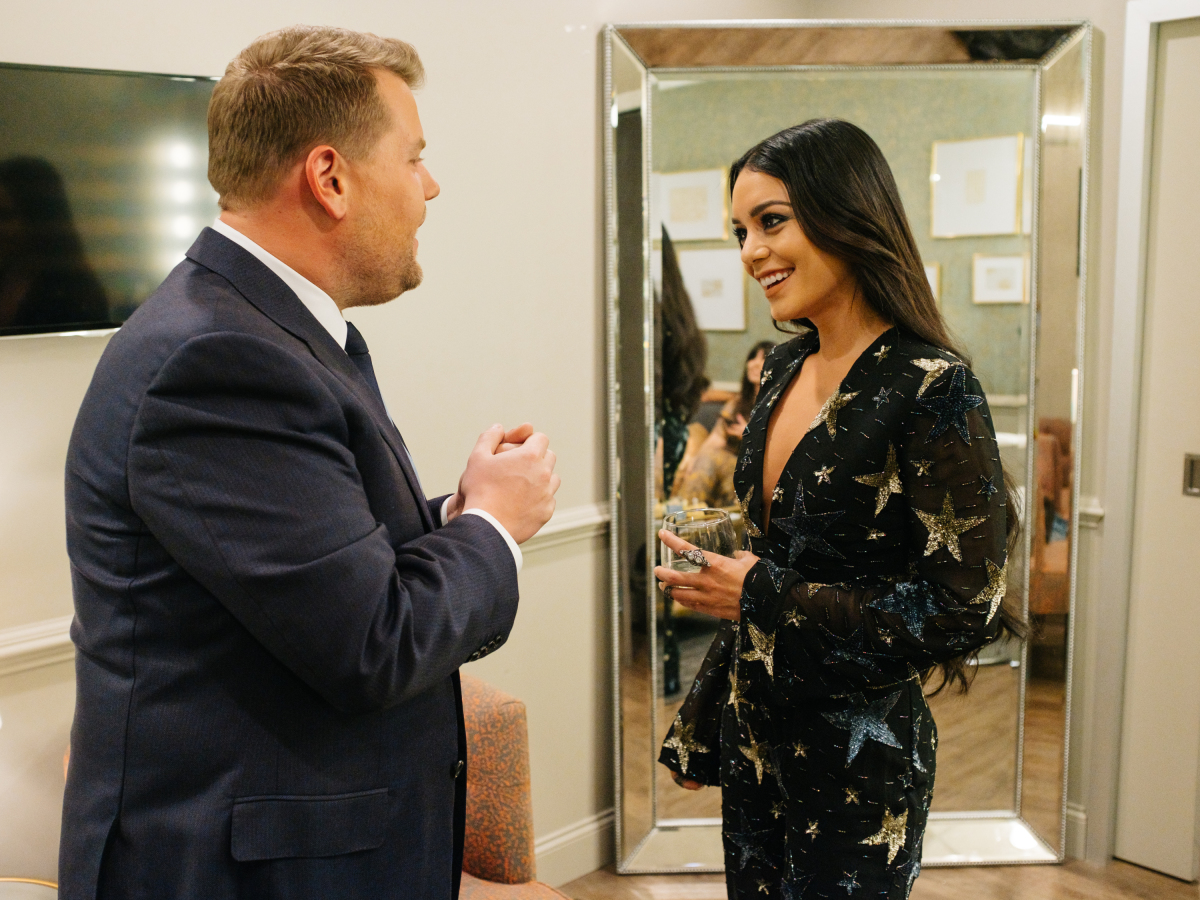 "Vanessa Hudgens chats in the green room with James Corden during ""The Late Late Show with James Corden,"" Thursday, March 16, 2017 (12:35 PM-1:37 AM ET/PT) On The CBS Television Network. Photo: Terence Patrick/CBS ©2017 CBS Broadcasting, Inc. All Rights Reserved"