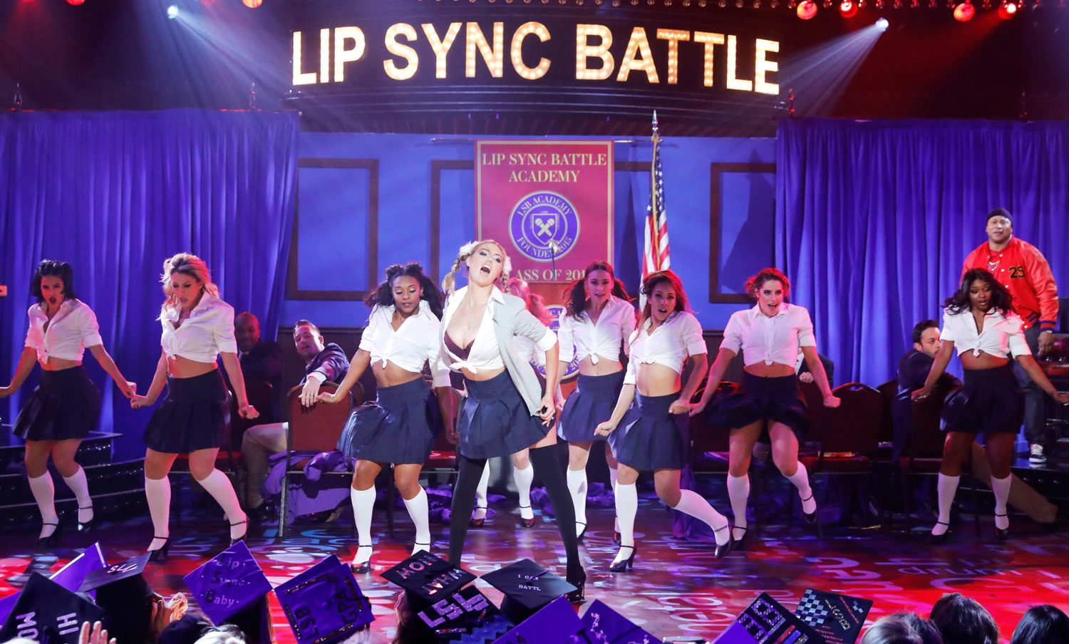 Kate Upton dons Britney Spears schoolgirl outfit in Lip Sync Battle preview