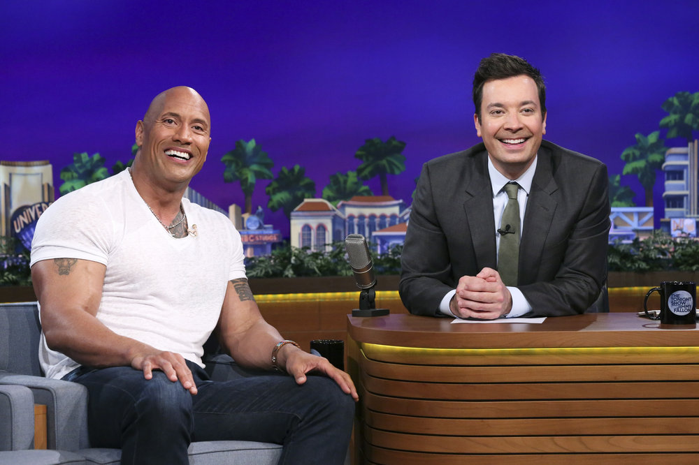 THE TONIGHT SHOW STARRING JIMMY FALLON -- Episode 0653 -- Pictured: (l-r) Actor Dwayne Johnson during an interview with host Jimmy Fallon on April 5, 2017 -- (Photo by: Andrew Lipovsky/NBC)