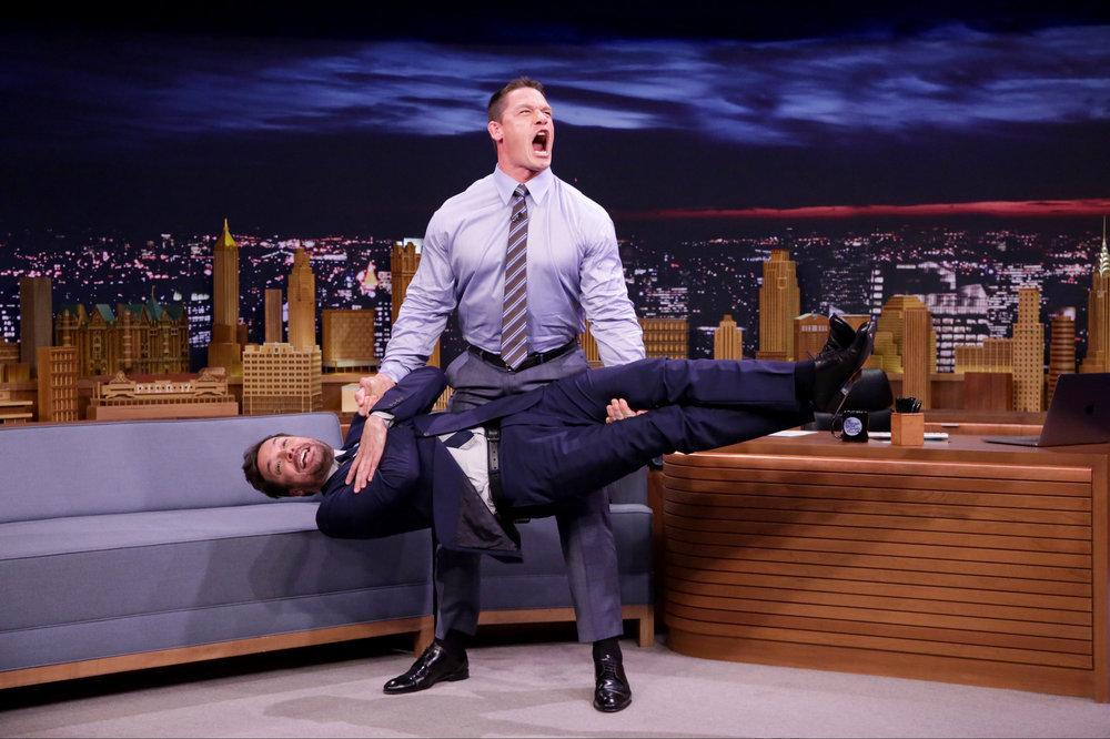 Watch John Cena Deadlift Jimmy Fallon