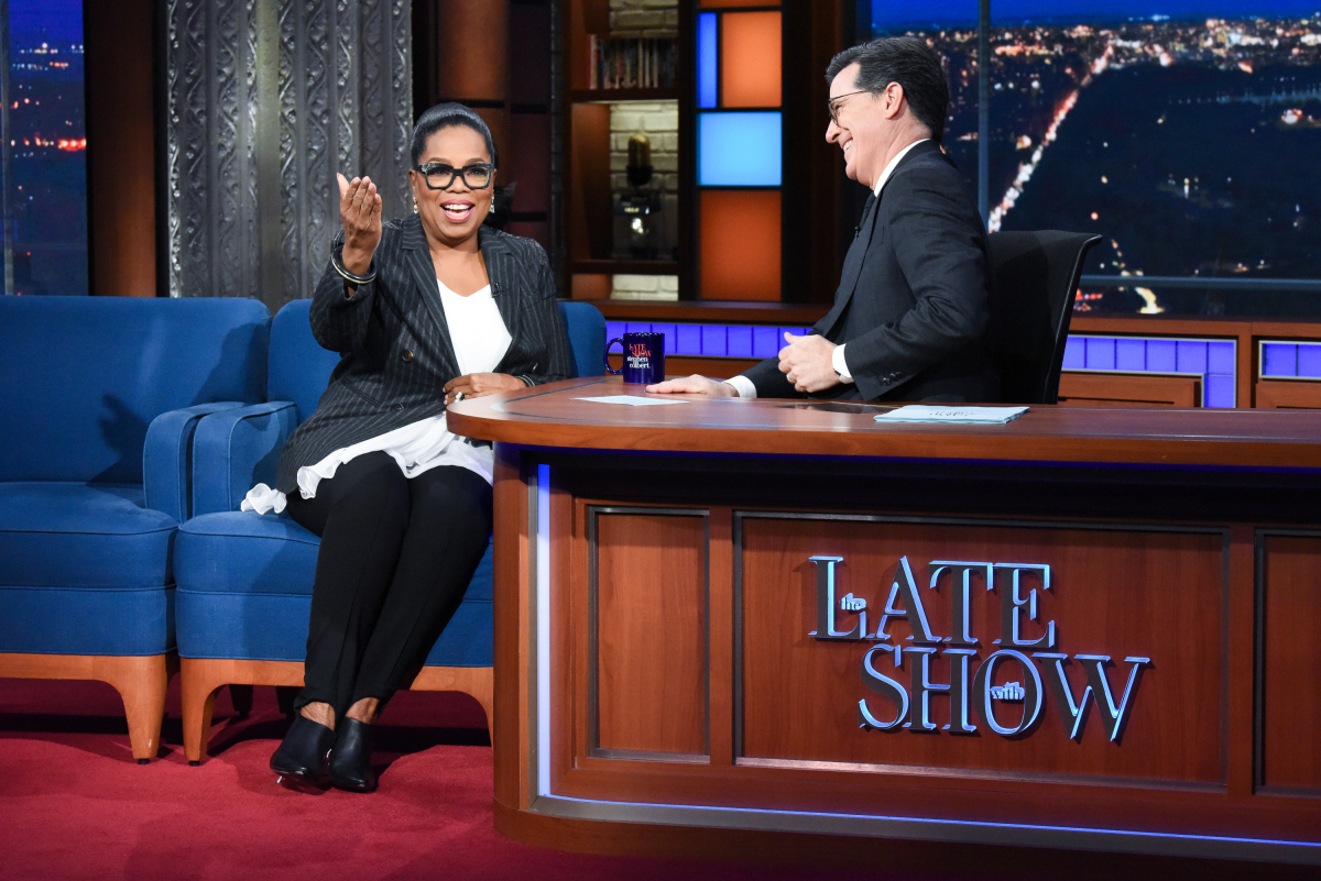 God Gives Oprah Winfrey a #2020 Sign During 'Colbert' Visit