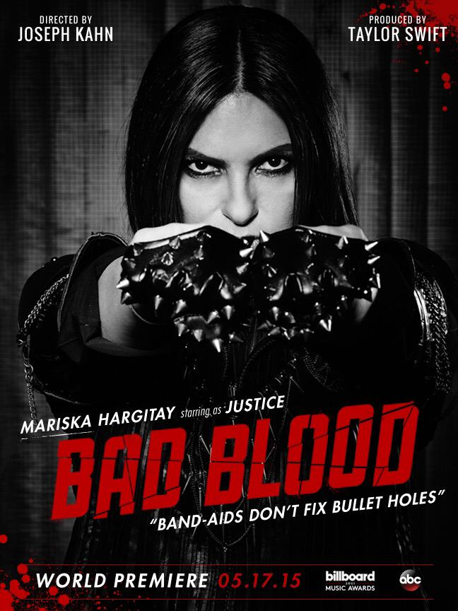 "Mariska Hargitay as ""Justice"" in Taylor Swift's ""Bad Blood"" music video"