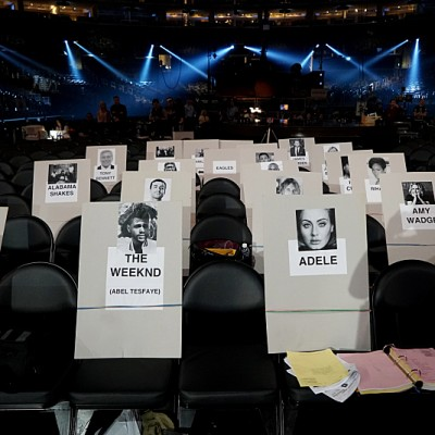 Seat Cards at the rehearsals for The 58TH ANNUAL GRAMMY AWARDS, to be held on Monday, Feb. 15, 2016 (8:00-11:30 PM, live ET) at STAPLES Center in Los Angeles and broadcast on the CBS Television Network. Photo: Timothy Kuratek/CBS ©2016 CBS Broadcasting, Inc. All Rights Reserved