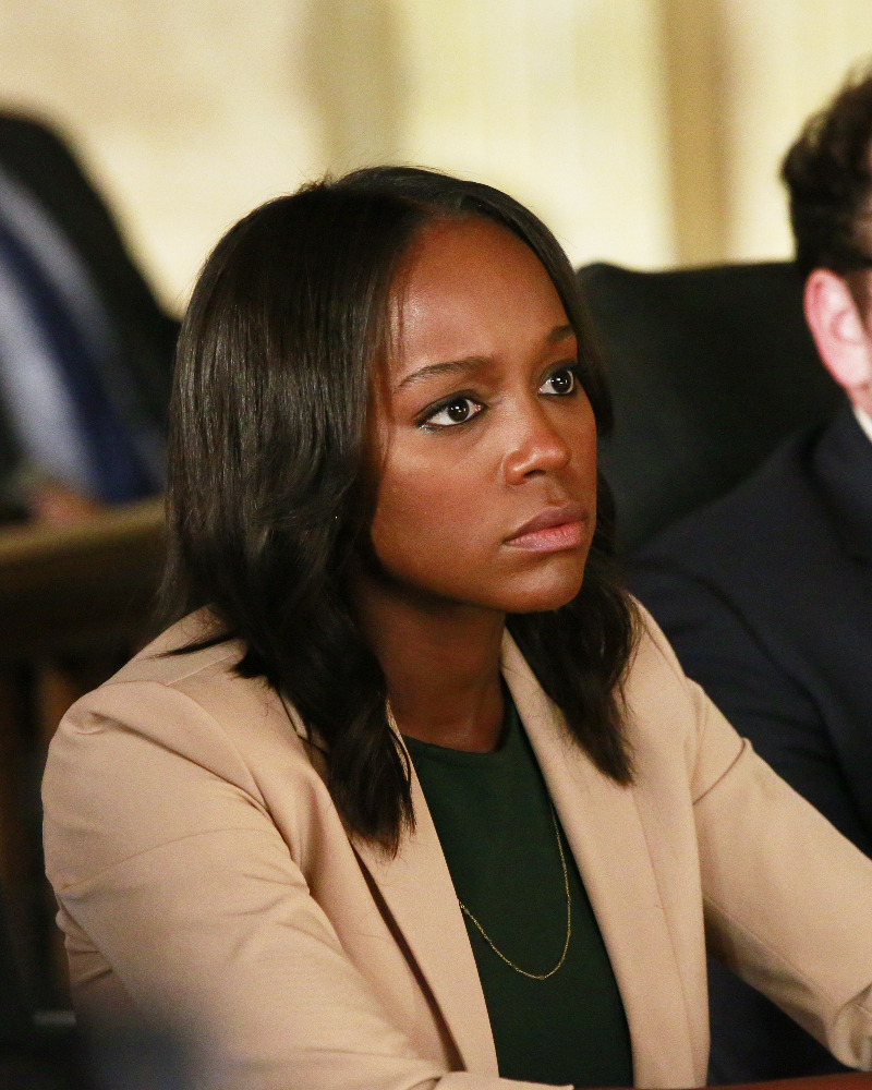 """HOW TO GET AWAY WITH MURDER - """"Always Bet Black"""" - Annalise presents her class with a high-profile murder case that pushes even the Keating 5's morals, while Laurel makes a shocking discovery through an unlikely source, on """"How to Get Away with Murder,"""" THURSDAY, OCTOBER 6 (10:00-11:00 p.m. EDT), on the ABC Television Network. (ABC/Mitch Haaseth) AJA NAOMI KING"""