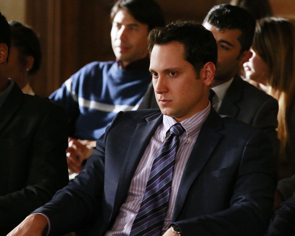 """HOW TO GET AWAY WITH MURDER - """"Always Bet Black"""" - Annalise presents her class with a high-profile murder case that pushes even the Keating 5's morals, while Laurel makes a shocking discovery through an unlikely source, on """"How to Get Away with Murder,"""" THURSDAY, OCTOBER 6 (10:00-11:00 p.m. EDT), on the ABC Television Network. (ABC/Mitch Haaseth) MATT MCGORRY"""