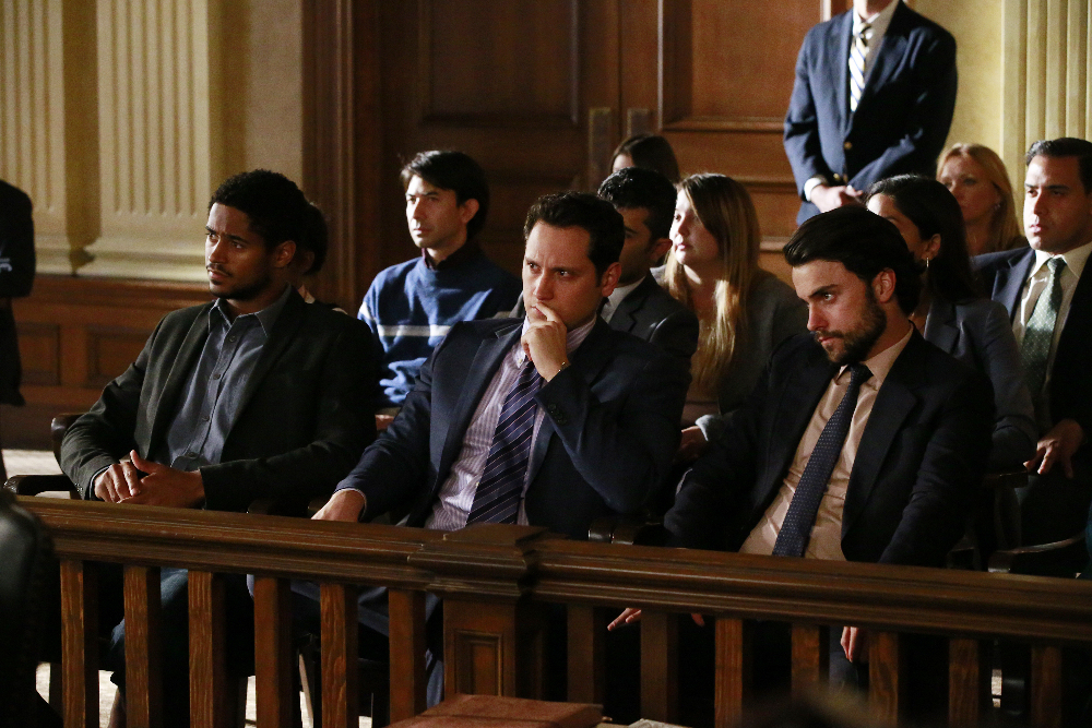 """HOW TO GET AWAY WITH MURDER - """"Always Bet Black"""" - Annalise presents her class with a high-profile murder case that pushes even the Keating 5's morals, while Laurel makes a shocking discovery through an unlikely source, on """"How to Get Away with Murder,"""" THURSDAY, OCTOBER 6 (10:00-11:00 p.m. EDT), on the ABC Television Network. (ABC/Mitch Haaseth) ALFRED ENOCH, MATT MCGORRY, JACK FALAHEE"""