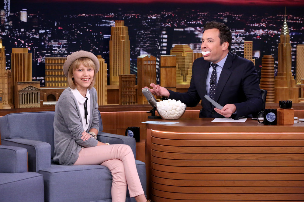 "THE TONIGHT SHOW STARRING JIMMY FALLON -- Episode 0540 -- Pictured: (l-r) Singer Grace VanderWaal plays ""Mouthful of Melodies"" with host Jimmy Fallon on September 23, 2016 -- (Photo by: Andrew Lipovsky/NBC)"