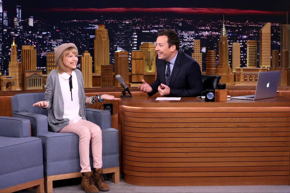 THE TONIGHT SHOW STARRING JIMMY FALLON -- Episode 0540 -- Pictured: (l-r) Singer Grace VanderWaal during an interview with host Jimmy Fallon on September 23, 2016 -- (Photo by: Andrew Lipovsky/NBC)