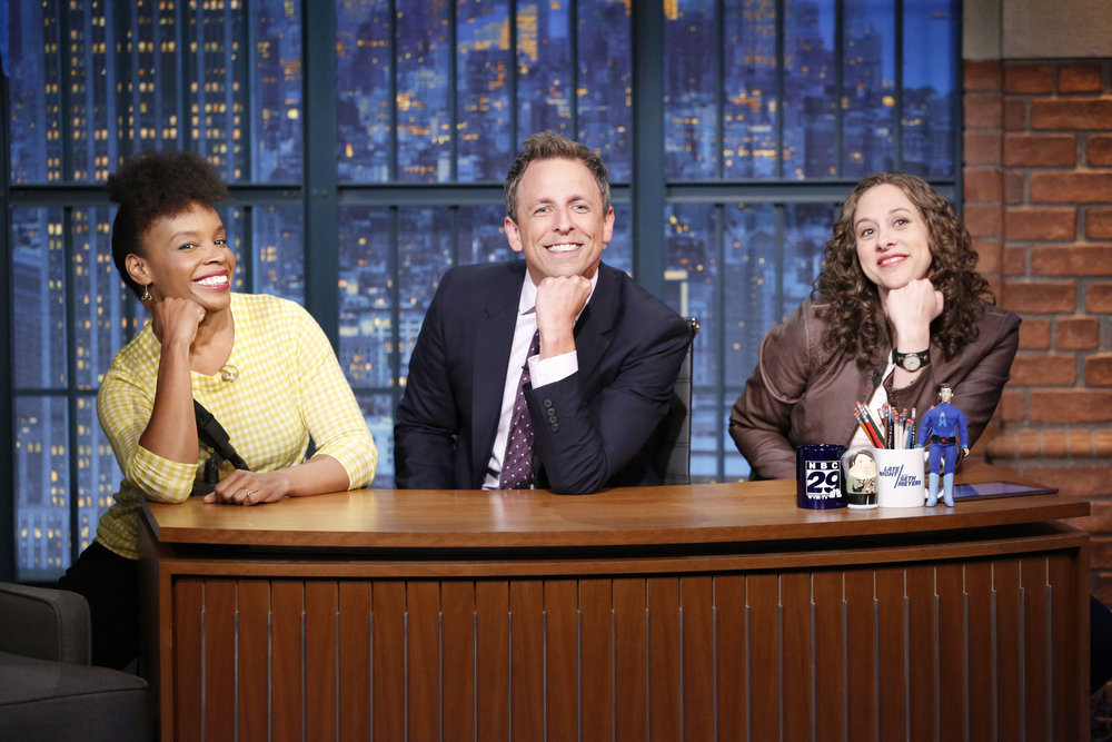 "LATE NIGHT WITH SETH MEYERS -- Episode 423 -- Pictured: (l-r) Amber Ruffin, host Seth Meyers and Jenny Hagel during the ""Jokes Seth Can't Tell"" sketch on September 21, 2016 -- (Photo by: Lloyd Bishop/NBC)"