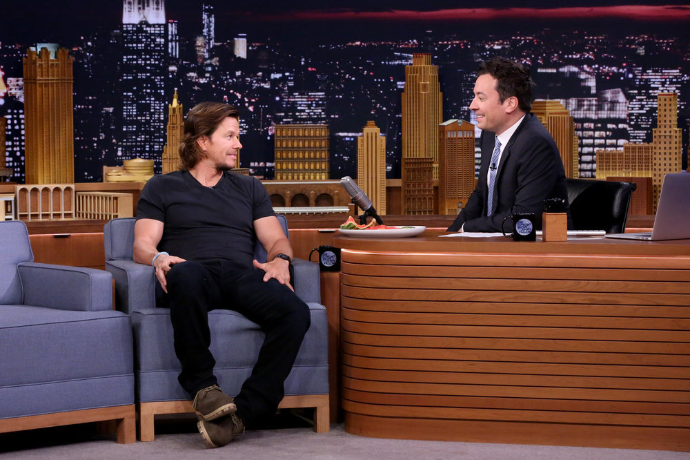 THE TONIGHT SHOW STARRING JIMMY FALLON -- Episode 0537 -- Pictured: (l-r) Actor Mark Wahlberg during an interview with host Jimmy Fallon on September 20, 2016 -- (Photo by: Andrew Lipovsky/NBC)