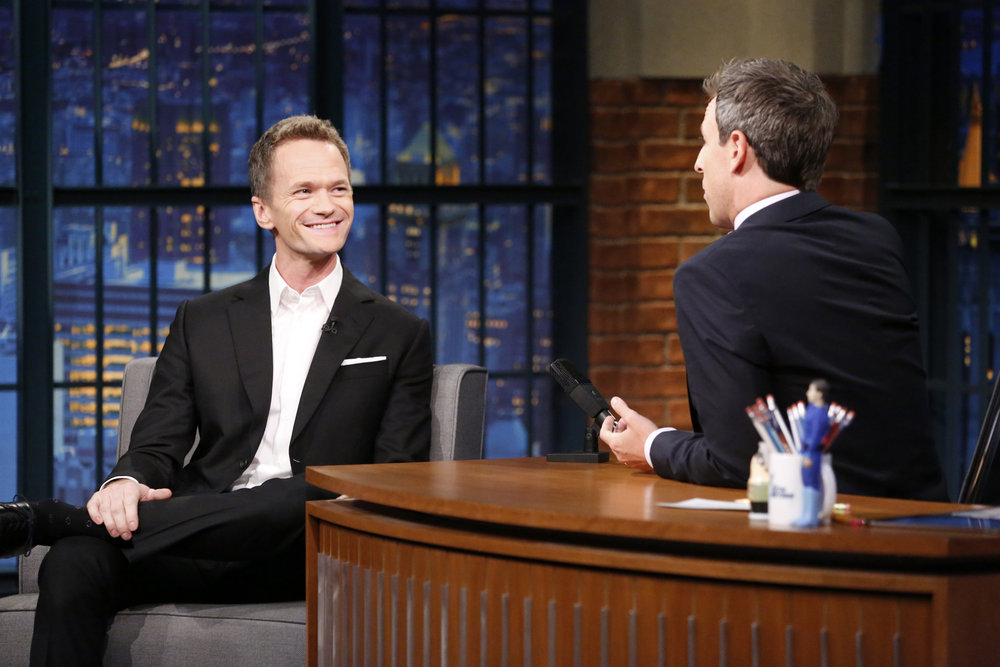 LATE NIGHT WITH SETH MEYERS -- Episode 423 -- Pictured: (l-r) Actor Neil Patrick Harris during an interview with host Seth Meyers on September 21, 2016 -- (Photo by: Lloyd Bishop/NBC)