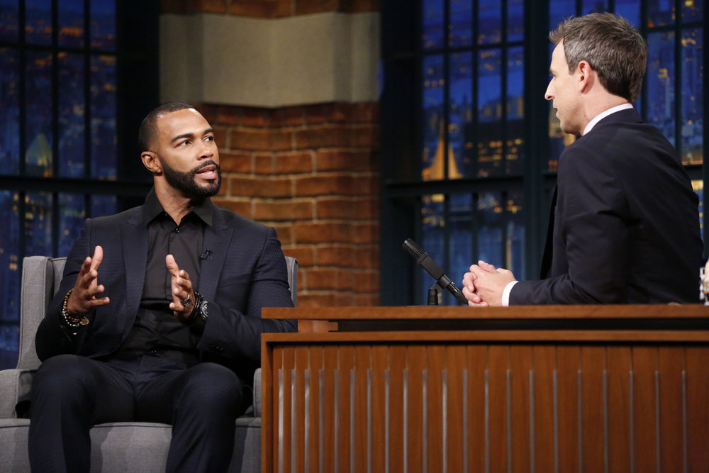 LATE NIGHT WITH SETH MEYERS -- Episode 423 -- Pictured: (l-r) Actor Omari Hardwick during an interview with host Seth Meyers on September 21, 2016 -- (Photo by: Lloyd Bishop/NBC)