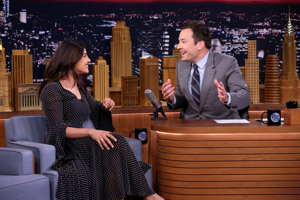 THE TONIGHT SHOW STARRING JIMMY FALLON -- Episode 0538 -- Pictured: (l-r) Actress Priyanka Chopra during an interview with host Jimmy Fallon on September 21, 2016 -- (Photo by: Andrew Lipovsky/NBC)