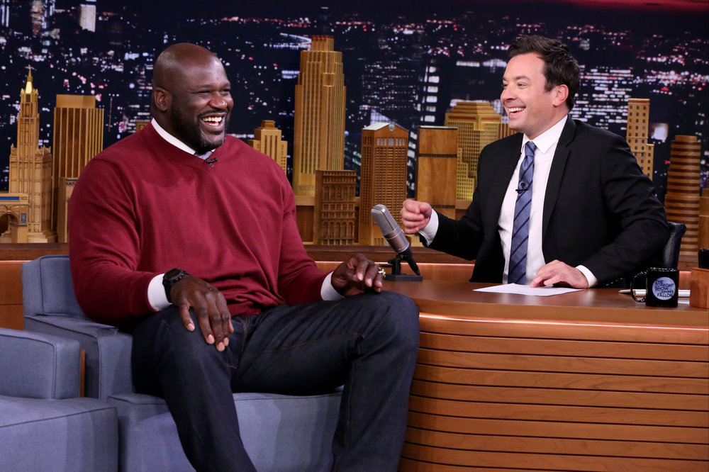 THE TONIGHT SHOW STARRING JIMMY FALLON -- Episode 0531 -- Pictured: (l-r) Basketball player Shaquille O'Neal during an interview with host Jimmy Fallon on September 12, 2016 -- (Photo by: Andrew Lipovsky/NBC)