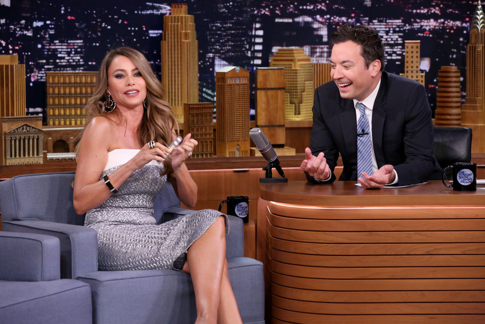 THE TONIGHT SHOW STARRING JIMMY FALLON -- Episode 0537 -- Pictured: (l-r) Actress Sofía Vergara during an interview with host Jimmy Fallon on September 20, 2016 -- (Photo by: Andrew Lipovsky/NBC)
