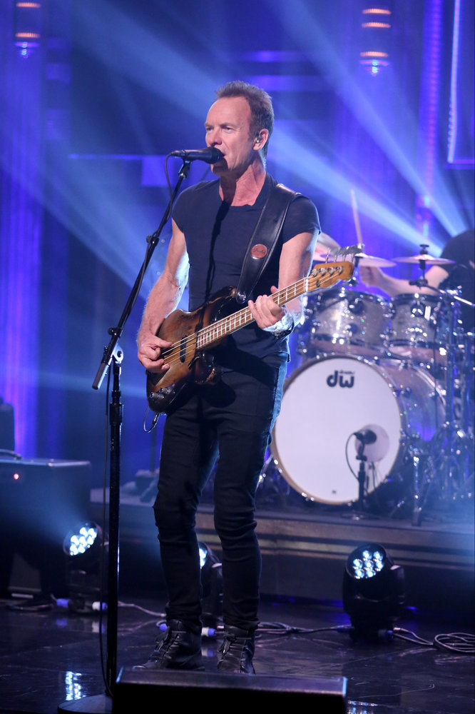 THE TONIGHT SHOW STARRING JIMMY FALLON -- Episode 0543 -- Pictured: Musical guest Sting performs on September 28, 2016 -- (Photo by: Andrew Lipovsky/NBC)