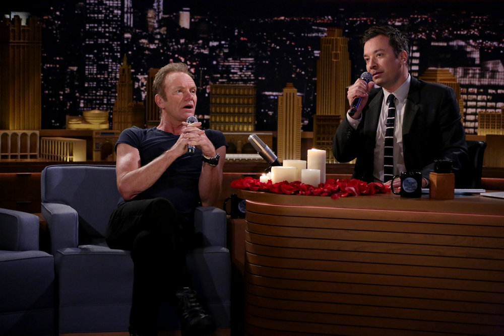"""THE TONIGHT SHOW STARRING JIMMY FALLON -- Episode 0543 -- Pictured: (l-r) Musician Sting and host Jimmy Fallon during the """"First Textual Experience"""" sketch on September 28, 2016 -- (Photo by: Andrew Lipovsky/NBC)"""