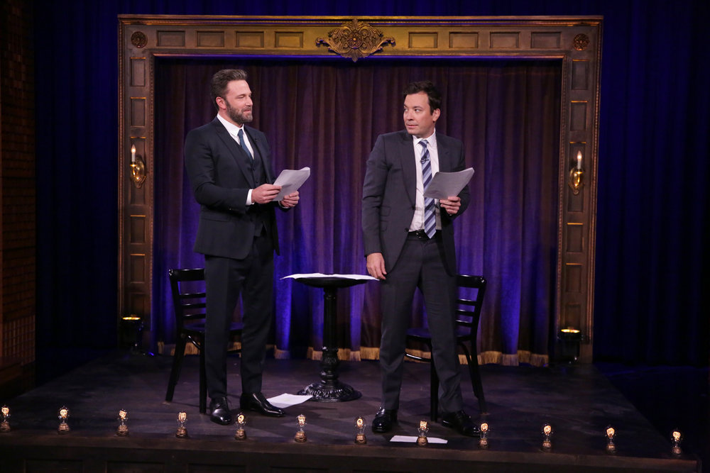 THE TONIGHT SHOW STARRING JIMMY FALLON -- Episode 0549 -- Pictured: (l-r) Actor Ben Affleck and host Jimmy Fallon play kid theater on October 6, 2016 -- (Photo by: Andrew Lipovsky/NBC)