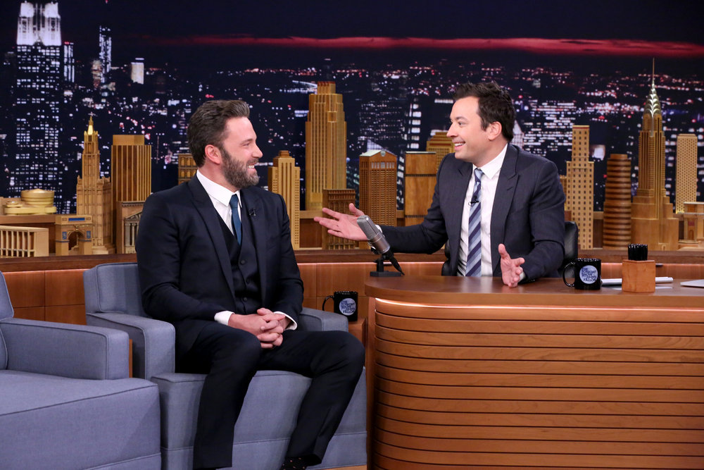 THE TONIGHT SHOW STARRING JIMMY FALLON -- Episode 0549 -- Pictured: (l-r) Actor Ben Affleck during an interview with host Jimmy Fallon on October 6, 2016 -- (Photo by: Andrew Lipovsky/NBC)