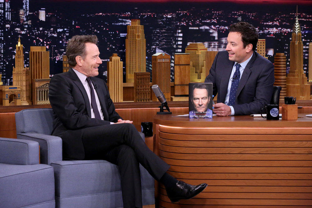 THE TONIGHT SHOW STARRING JIMMY FALLON -- Episode 0553 -- Pictured: (l-r) Actor Bryan Cranston during an interview with host Jimmy Fallon on October 12, 2016 -- (Photo by: Andrew Lipovsky/NBC)