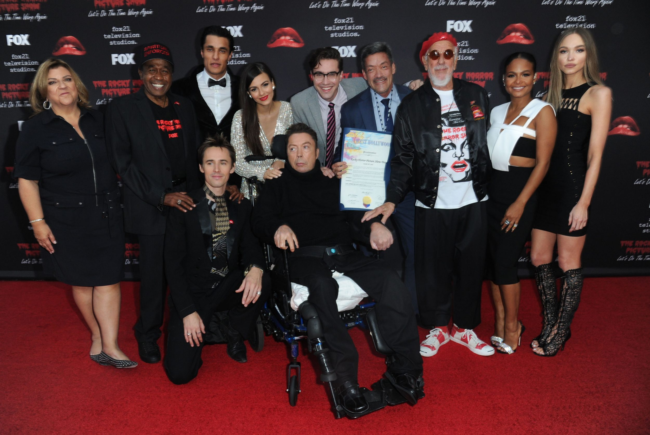 THE ROCKY HORROR PICTURE SHOW: Let's Do The Time Warp Again (and Transylvanians!): L-R: Executive Producer Gail Berman, cast members Ben Vereen, Reeve Carney, Staz Nair, Victoria Justice, Tim Curry, Ryan McCartan, West Hollywood City Councilmember John Duran, Executive Producer Lou Adler, and cast members Christina Milian and Ivy Levan arrive at THE ROCKY HORROR PICTURE SHOW: Let's Do The Time Warp Again (and Transylvanians!) premiere party red carpet at The Roxy on Thursday, Oct. 13, in Los Angeles, CA. THE ROCKY HORROR PICTURE SHOW: Let's Do The Time Warp Again (And Transylvanians!) premieres Thursday, Oct. 20 (8:00-10:00 PM ET/PT) on FOX. © 2016 FOX BROADCASTING CR: Richard Shotwell/FOX