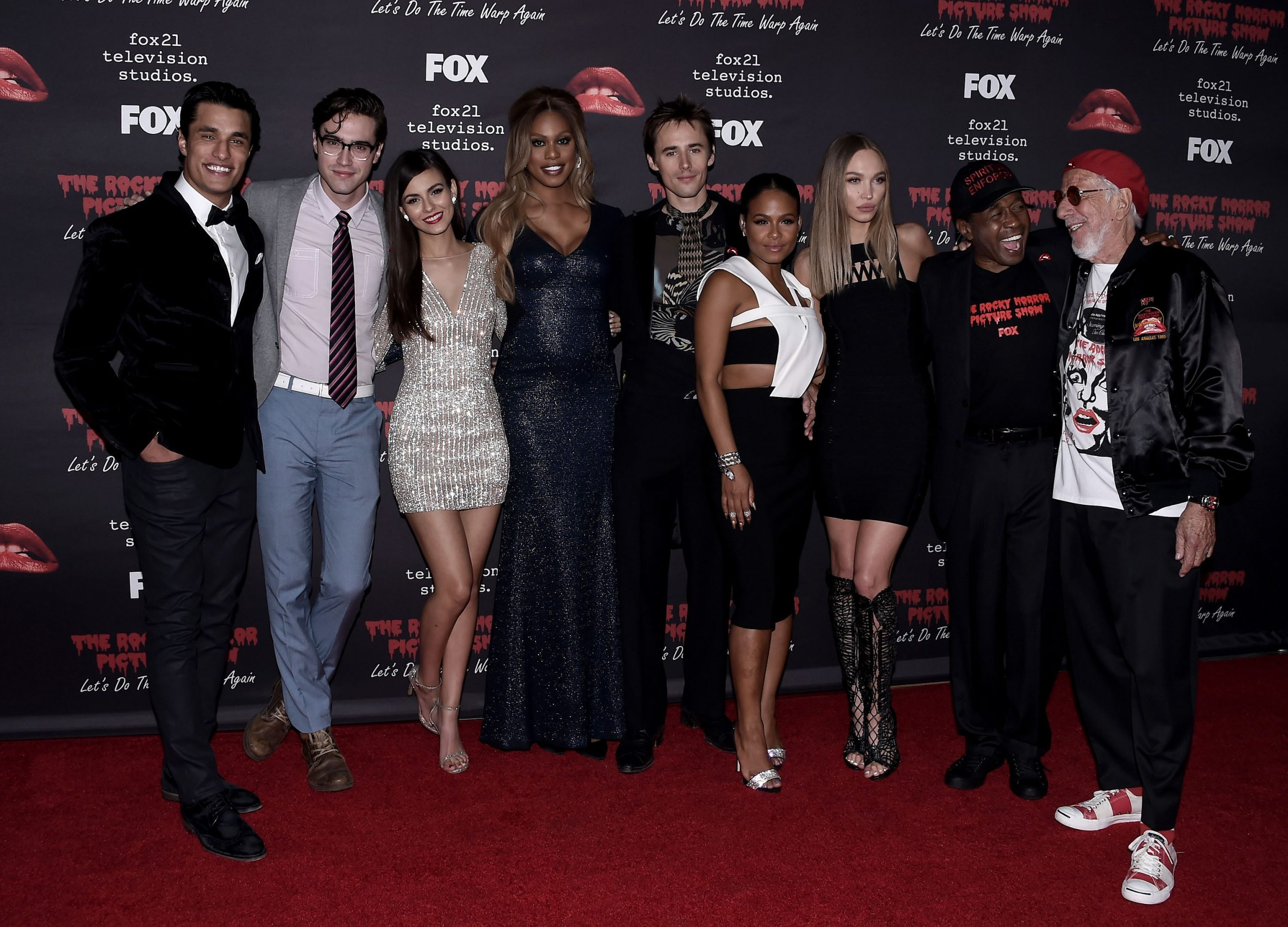 THE ROCKY HORROR PICTURE SHOW: Let's Do The Time Warp Again (and Transylvanians!): L-R: Cast members Staz Nair, Ryan McCartan, Victoria Justice, Laverne Cox, Reeve Carney, Christina Milian, Ivy Levan, Ben Vereen and Executive Producer Lou Adler arrive at THE ROCKY HORROR PICTURE SHOW: Let's Do The Time Warp Again (and Transylvanians!) premiere party red carpet at The Roxy on Thursday, Oct. 13, in Los Angeles, CA. THE ROCKY HORROR PICTURE SHOW: Let's Do The Time Warp Again (And Transylvanians!) premieres Thursday, Oct. 20 (8:00-10:00 PM ET/PT) on FOX. © 2016 FOX BROADCASTING CR: Scott Kirkland/FOX