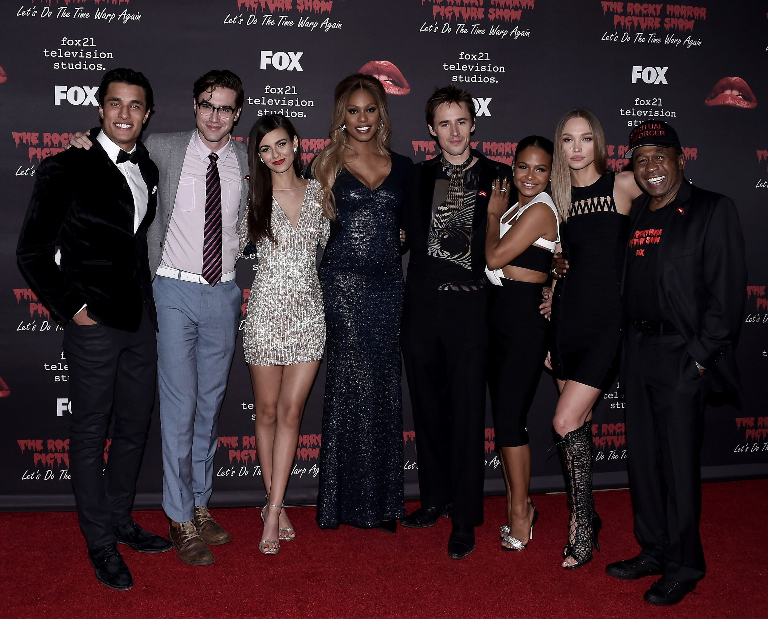 THE ROCKY HORROR PICTURE SHOW: Let's Do The Time Warp Again (and Transylvanians!): L-R: Cast members Staz Nair, Ryan McCartan, Victoria Justice, Laverne Cox, Reeve Carney, Christina Milian, Ivy Levan and Ben Vereen arrive at THE ROCKY HORROR PICTURE SHOW: Let's Do The Time Warp Again (and Transylvanians!) premiere party red carpet at The Roxy on Thursday, Oct. 13, in Los Angeles, CA. THE ROCKY HORROR PICTURE SHOW: Let's Do The Time Warp Again (And Transylvanians!) premieres Thursday, Oct. 20 (8:00-10:00 PM ET/PT) on FOX. © 2016 FOX BROADCASTING CR: Scott Kirkland/FOX