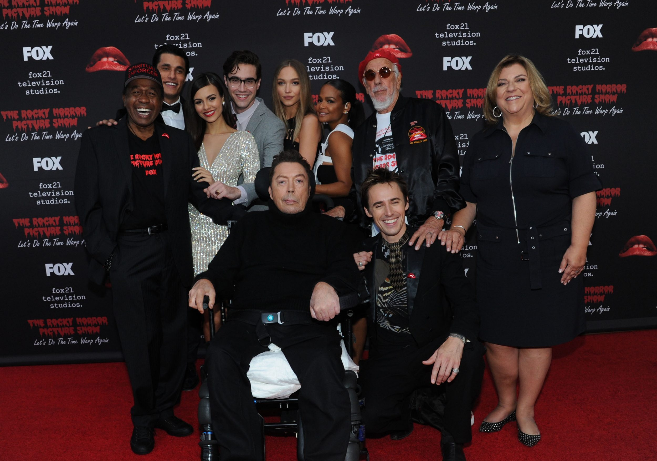 THE ROCKY HORROR PICTURE SHOW: Let's Do The Time Warp Again (and Transylvanians!): L-R: Cast members Ben Vereen, Staz Nair, Victoria Justice, Ryan McCartan, Tim Curry, Ivy Levan, Christina Milian, Reeve Carney and Executive Producers Lou Adler and Gail Berman arrive at THE ROCKY HORROR PICTURE SHOW: Let's Do The Time Warp Again (and Transylvanians!) premiere party red carpet at The Roxy on Thursday, Oct. 13, in Los Angeles, CA. THE ROCKY HORROR PICTURE SHOW: Let's Do The Time Warp Again (And Transylvanians!) premieres Thursday, Oct. 20 (8:00-10:00 PM ET/PT) on FOX. © 2016 FOX BROADCASTING CR: Richard Shotwell/FOX