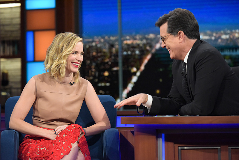 The Late Show with Stephen Colbert  with guest Emily Blunt during Thursday's 10/06/16 show in New York. Photo: Scott Kowalchyk/CBS ©2016CBS Broadcasting Inc. All Rights Reserved.