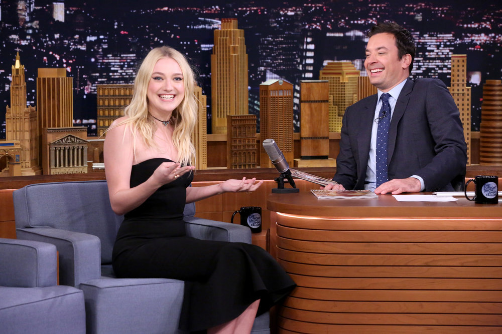 THE TONIGHT SHOW STARRING JIMMY FALLON -- Episode 0553 -- Pictured: (l-r) Actress Dakota Fanning during an interview with host Jimmy Fallon on October 12, 2016 -- (Photo by: Andrew Lipovsky/NBC)