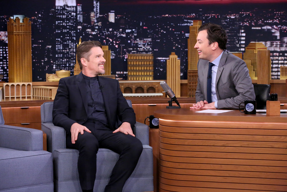 THE TONIGHT SHOW STARRING JIMMY FALLON -- Episode 0557 -- Pictured: (l-r) Actor Ethan Hawke during an interview with host Jimmy Fallon on October 25, 2016 -- (Photo by: Andrew Lipovsky/NBC)