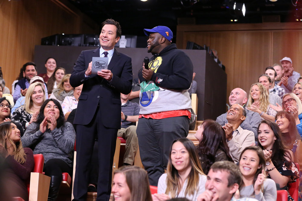 THE TONIGHT SHOW STARRING JIMMY FALLON -- Episode 0548 -- Pictured: (l-r) Host Jimmy Fallon and an audience member during Freestylin' with The Roots on October 5, 2016 -- (Photo by: Andrew Lipovsky/NBC)