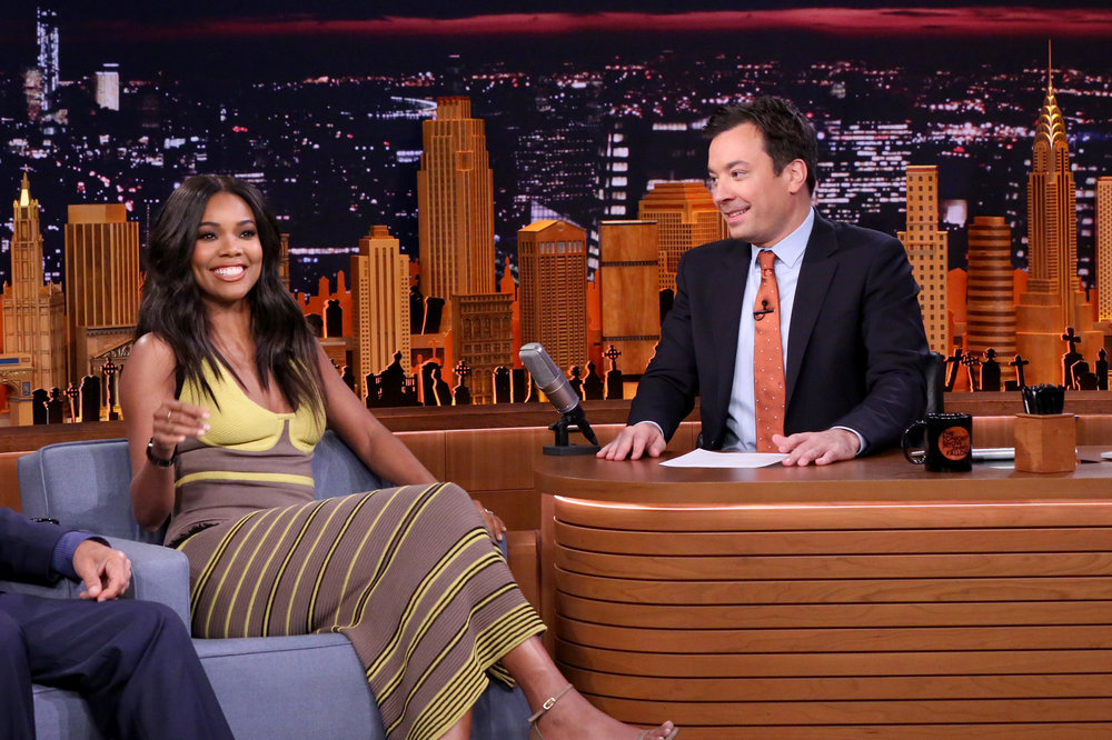 THE TONIGHT SHOW STARRING JIMMY FALLON -- Episode 0561 -- Pictured: (l-r) Actress Gabrielle Union during an interview with host Jimmy Fallon on October 31, 2016 -- (Photo by: Andrew Lipovsky/NBC)