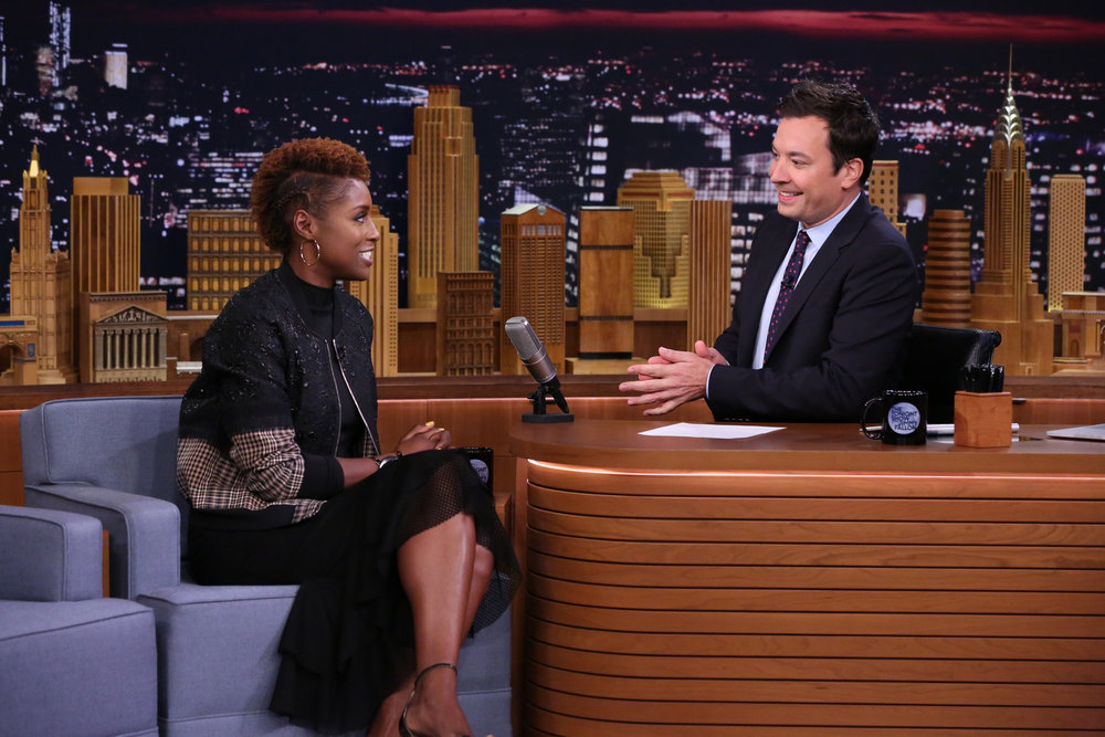 THE TONIGHT SHOW STARRING JIMMY FALLON -- Episode 0548 -- Pictured: (l-r) Actress Issa Rae during an interview with host Jimmy Fallon on October 5, 2016 -- (Photo by: Andrew Lipovsky/NBC)