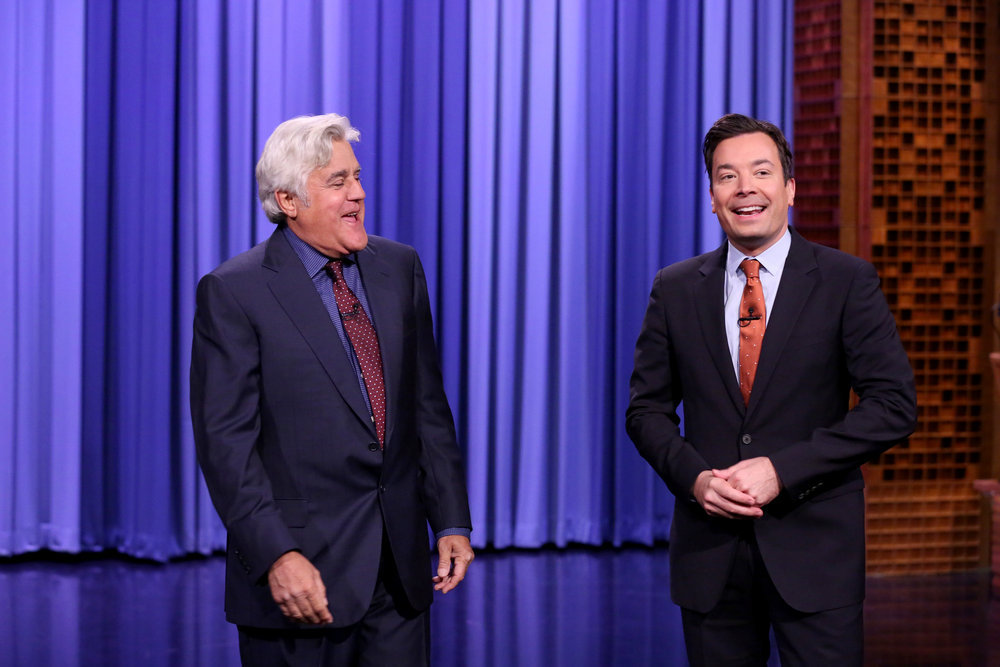 THE TONIGHT SHOW STARRING JIMMY FALLON -- Episode 0561 -- Pictured: (l-r) Comedian Jay Leno and host Jimmy Fallon during the opening monologue on October 31, 2016 -- (Photo by: Andrew Lipovsky/NBC)