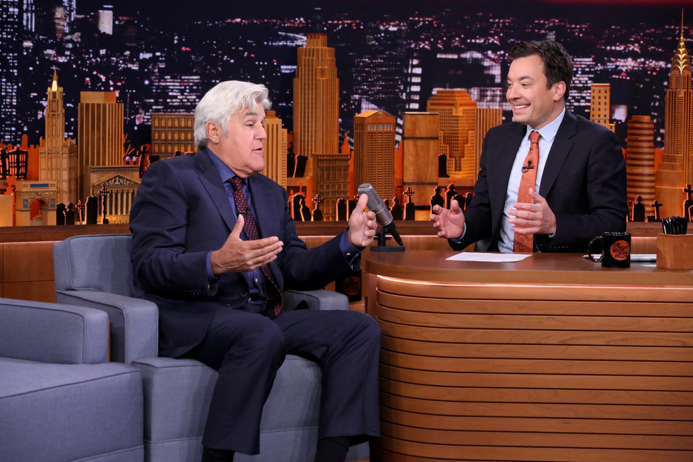 THE TONIGHT SHOW STARRING JIMMY FALLON -- Episode 0561 -- Pictured: (l-r) Comedian Jay Leno during an interview with host Jimmy Fallon on October 31, 2016 -- (Photo by: Andrew Lipovsky/NBC)