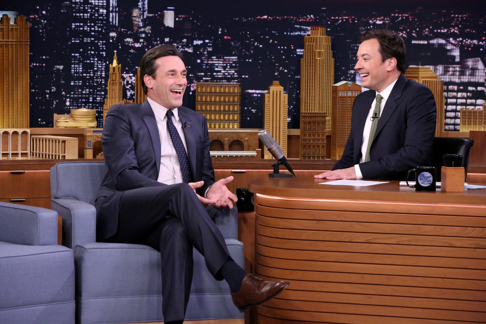 THE TONIGHT SHOW STARRING JIMMY FALLON -- Episode 0555 -- Pictured: (l-r) Actor Jon Hamm during an interview with host Jimmy Fallon on October 14, 2016 -- (Photo by: Andrew Lipovsky/NBC)