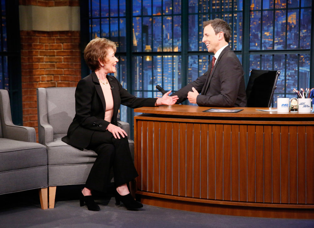 LATE NIGHT WITH SETH MEYERS -- Episode 430 -- Pictured: (l-r) Judge Judy Sheindlin during an interview with host Seth Meyers on October 4, 2016 -- (Photo by: Lloyd Bishop/NBC)