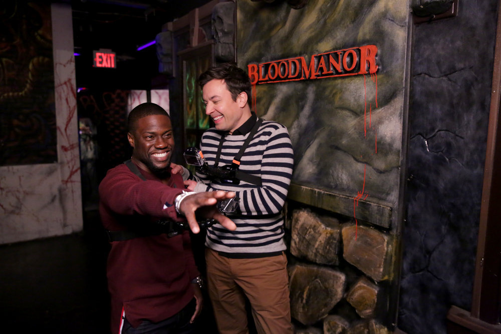 "THE TONIGHT SHOW STARRING JIMMY FALLON -- Episode 0554 -- Pictured: (l-r) Actor Kevin Hart and host Jimmy Fallon during the ""Jimmy and Kevin Go to a Haunted House"" sketch on October 13, 2016 -- (Photo by: Andrew Lipovsky/NBC)"