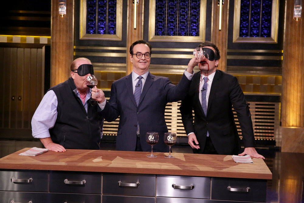 THE TONIGHT SHOW STARRING JIMMY FALLON -- Episode 0546 -- Pictured: (l-r) Chef Mario Batali, announcer Steve Higgins and host Jimmy Fallon on October 3, 2016 -- (Photo by: Andrew Lipovsky/NBC)