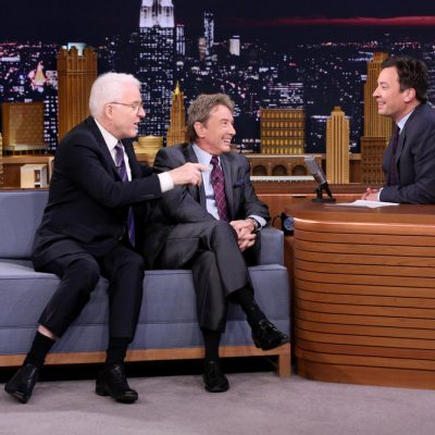 THE TONIGHT SHOW STARRING JIMMY FALLON -- Episode 0559 -- Pictured: (l-r) Actors Steve Martin and Martin Short during an interview with host Jimmy Fallon on October 27, 2016 -- (Photo by: Andrew Lipovsky/NBC)