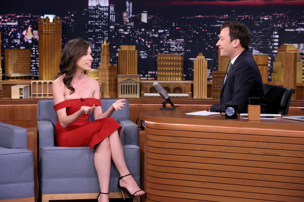 THE TONIGHT SHOW STARRING JIMMY FALLON -- Episode 0555 -- Pictured: (l-r) Actress Colleen Ballinger during an interview with host Jimmy Fallon on October 14, 2016 -- (Photo by: Andrew Lipovsky/NBC)