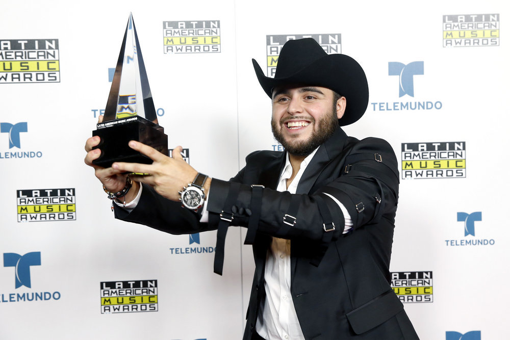"""2016 LATIN AMERICAN MUSIC AWARDS -- """"Press Room"""" -- Pictured: Recording artist Recording artist Gerardo Ortiz poses backstage at the 2016 Latin American Music Awards at the Dolby Theater in Los Angeles, CA on October 6, 2016 -- (Photo by: Jesse Grant/Telemundo)"""
