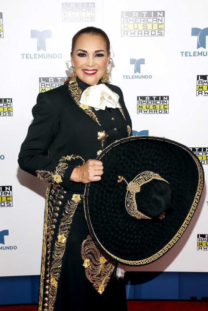 """2016 LATIN AMERICAN MUSIC AWARDS -- """"Press Room"""" -- Pictured: Recording artist Aida Cuevas poses backstage at the 2016 Latin American Music Awards at the Dolby Theater in Los Angeles, CA on October 6, 2016 -- (Photo by: Jesse Grant/Telemundo)"""