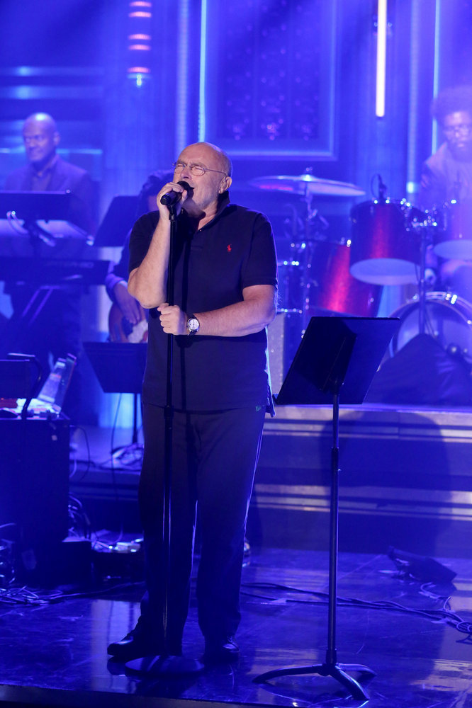 THE TONIGHT SHOW STARRING JIMMY FALLON -- Episode 0557 -- Pictured: Musical guest Phil Collins with The Roots perform on October 25, 2016 -- (Photo by: Andrew Lipovsky/NBC)